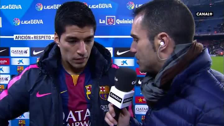 Luis Su�rez, feliz por su primer gol liguero
