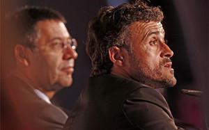 Bartomeu y Luis Enrique, durante la presentación del asturiano