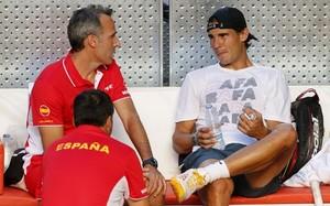 Àlex Corretja y Rafa Nadal, en 2013 con el equipo español de Copa Davis