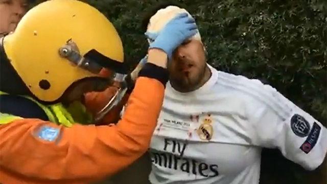 Un aficionado del Real Madrid resultó herido