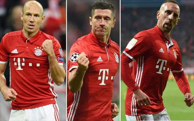 Robben, Lewandowski y Rib�ry son tresos pesos pesados en el Bayern de M�nich.