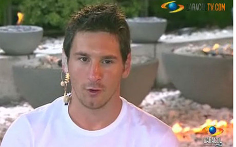 Leo Messi en un momento de la entrevista para Caracol TV