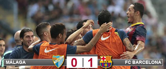Adriano desatasca el sufrimiento del Barça en Málaga