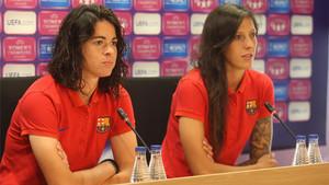 Marta Torrejón y Jenni Hermoso comparecieron ante los medios