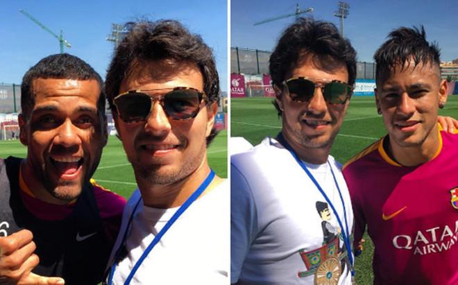 Checo P�rez, junto a Alves y Neymar