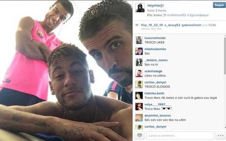 La foto de Neymar, Rafinha y Piqu�