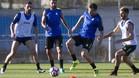 Javi Fuego realizó su primer entrenamiento con el Espanyol