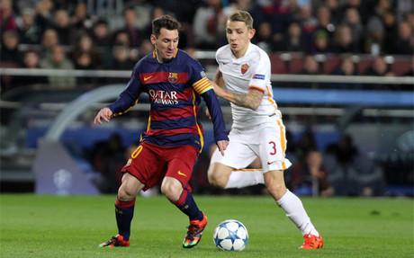 Messi marc� dos goles a la Roma