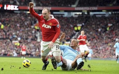Rooney, celebrando su gol al City en 2011