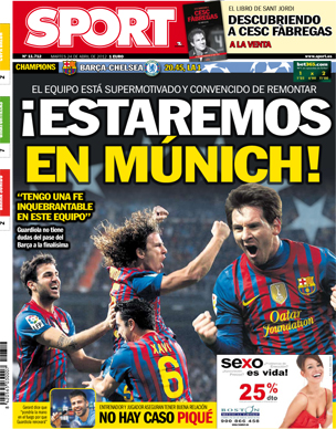Spanish newspaper Sport forced to change their front cover today (look at Puyol & Xavi)