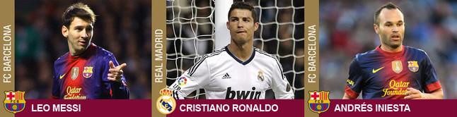 Messi, Cristiano Ronaldo y Andrés Iniesta, finalistas al Balón de Oro 2012