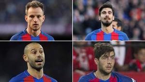 Rakitic, André Gomes, Mascherano y Sergi Roberto, candidatos a ocupar la vacante que ha dejado Busquets en la zona ancha por lesión