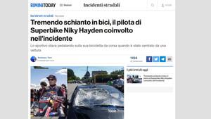 El Rimini Today informa del accidente de Hayden