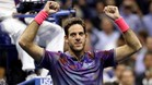 Del Potro celebra su victoria ante Federer