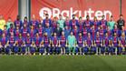 La foto oficial de las dos plantillas del primer equipo de FC Barcelona, masculino y femenino