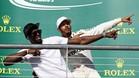 Hamilton y Bolt, en el podio de Austin