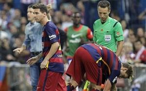 Messi, en el momento del cambio