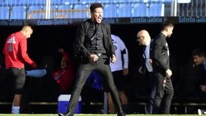 Simeone celebró con rabia la victoria