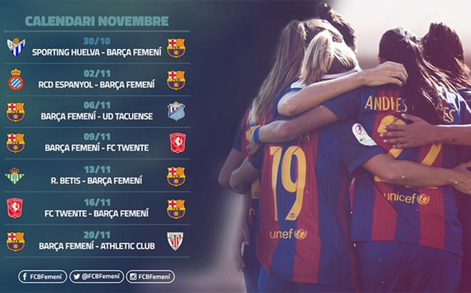 El calendario del FC Barcelona femenino
