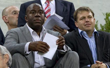 Magic Johnson, durante el partido en el Camp Nou