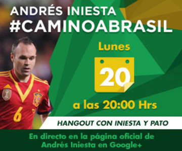 La pgina de Google Plus de Iniesta se entrenar oficialmente este lunes con el hangout que ofrecer junto al brasileo Pato