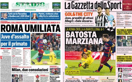 Dos portadas de la prensa italiana