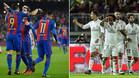 Los jugadores del FC Barcelona (izquierda) y del Real Madrid celebran uno de sus goles a lo largo del año 2016