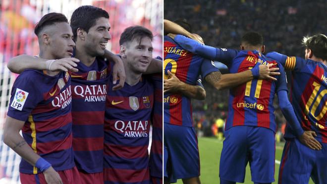Neymar Junior, Luis Suárez y Leo Messi en dos imágenes de las temporadas 2015/16 y 2016/17, respectivamente