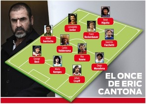 El once ideal de Cantona