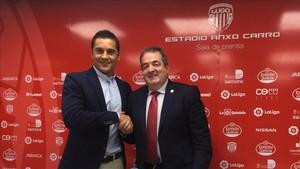 Francisco Rodríguez, junto al presidente Tino Saqués