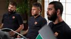 Piqué, Neymar y Turan durante la estancia en Japón para la presentación del acuerdo Barça-Rakuten