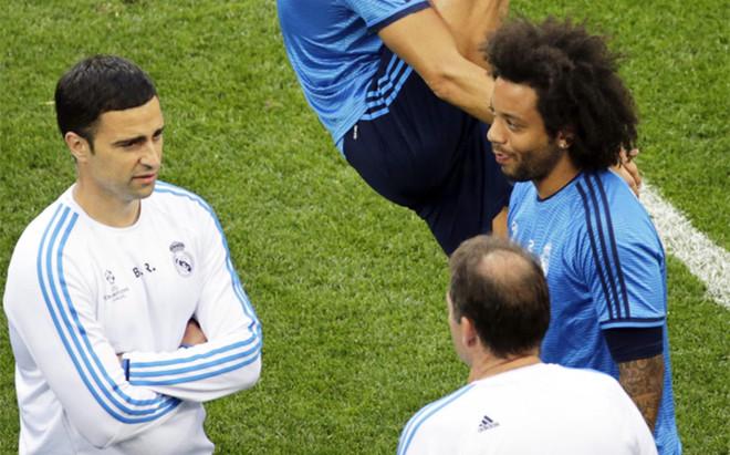 Marcelo, durante el entrenamiento previo de la final de la Champions