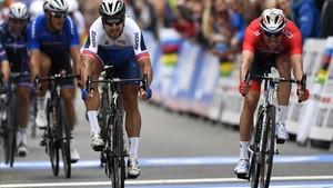 Peter Sagan en el sprint de Bergen que le permitió ganar el Mundial