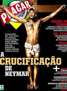 Neymar crucificado, portada de 'Placar' en octubre