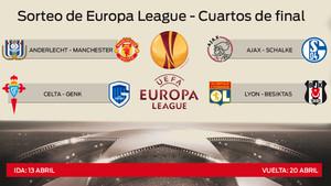 Así han quedado los emparejamientos de cuartos en la Europa League