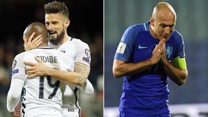 Giroud y Robben, cara y cruz con Francia y Holanda