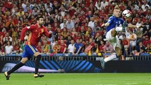 Piqué jugó un muy buen partido ante la selección italiana