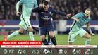 Iniesta no cuajó un buen partido ante el PSG