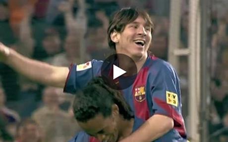 Primer gol de Leo Messi
