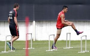 Alexis, durante el entrenamiento de hoy