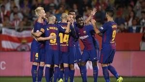 El Barça celebra el primer tanto