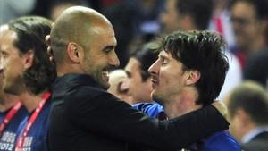 Guardiola se lo pasó en grande con Messi