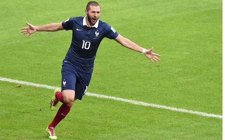 Benzema celebrates the opener