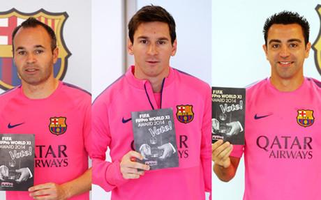 Iniesta, Messi y Xavi, como sus compa�eros, votaron por el FIFA Fifpro 2014