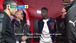 Ousmane Dembélé durante los prolegómenos del Stade Rennais contra Nantes (2-1) de la Ligue 1