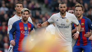 Cristiano Ronaldo, Messi, Benzema y Rakitic en el último Barça-Real Madrid de Liga