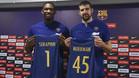 Adrien Moerman y Kevin Seraphin durante su presentación oficial como jugadores del Barça Lassa de basket