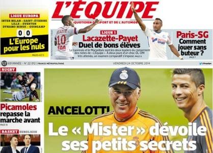 Ancelotti, protagonista en 'L'Equipe' en la v�spera del cl�sico