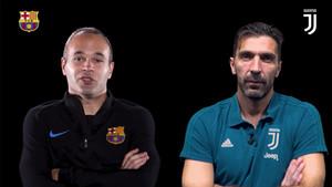 Iniesta y Buffon, cara a cara en la web del Barça