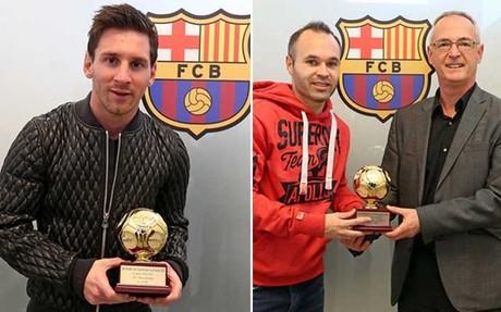 Leo Messi y Andr�s Iniesta recibieron sus premios de manos de Robert Ley